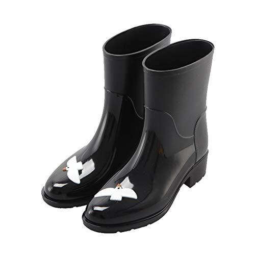 WXFF Moda Patrón Tubo Medio de Las Mujeres Botas de Lluvia Impermeable y Antideslizante Botas de Lluvia Zapatos de jardín Impermeable (Color : Black, Size : 37)