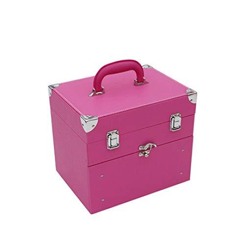 Boîte à Bijoux Sac Cosmétique Multi-Fonction Boîte à Outils Portable Professionnelle avec étui à cosmétiques à Carreaux de tiroir Voyage Rose étanche