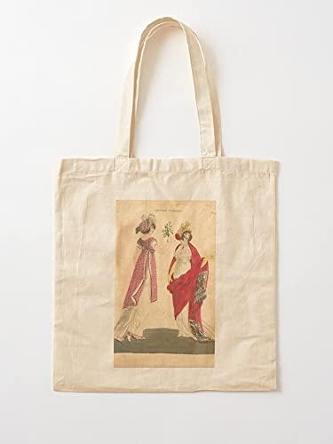 Générique 1800S Fashion Century Revista 19Th Early of Disfraz Parisino London and París Female | Bolsas de lona con asas de algodón duradero