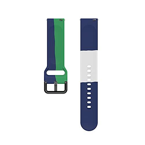 Bracelet de montre en silicone de 20 mm, à trois couleurs, convient pour la montre 4 Watch 4 Classic 42 mm, 46 mm, bracelet sport (bleu vert et blanc).