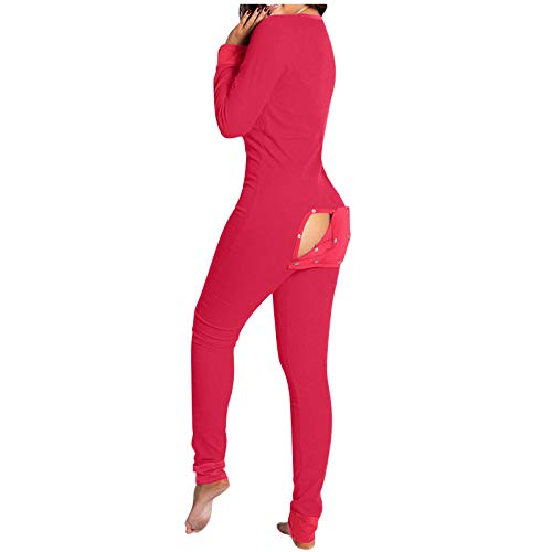 Luckycat Pijamas Mujer de Una Pieza, Pijama Mujer Invierno, Merchandising Oficial Regalos para Mujer Mono para Adultos con Solapa Abotonada Impresión Funcional Frontal Abotonada para Mujer