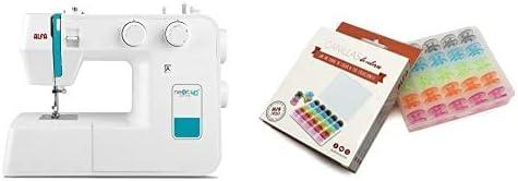 Alfa NEXT 40 Spring Máquina de coser con 25 puntadas, color azul cielo + 6050-Caja 25 canillas Colores, Multicolor