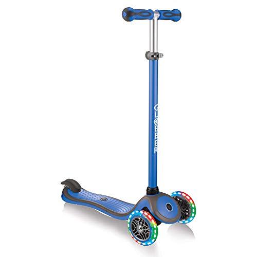 Globber- V2 3-Wheel Kids Kick Scooter - LED Light Up Wheels - Adjustable Height T-Bar - for Boys and Girls - Navy Blue
