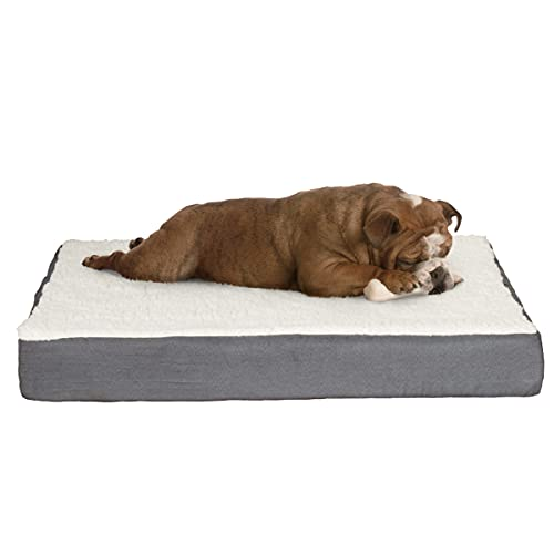 PETMAKER Orthopedic Sherpa Top Pet Bed with Memory Foam and Removable Cover 30x20.5x4 Gray, Model...