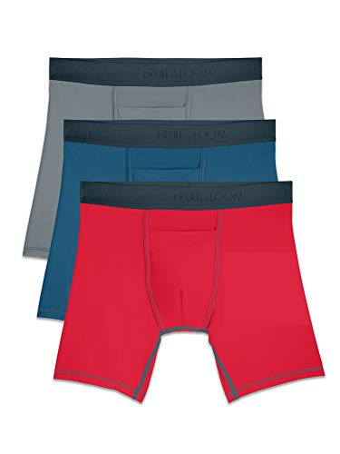Fruit of the Loom Mens EverLight Go Active Assorted Boxer Briefs, 3 Pack, Extended Sizes