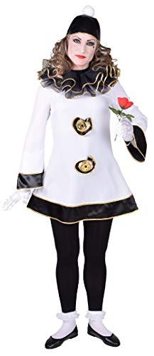 narrenkiste M218169-XL weiß-schwarz Damen Pierrot Clownkleid Kasperkleid Zirkuskleid Gr.XL