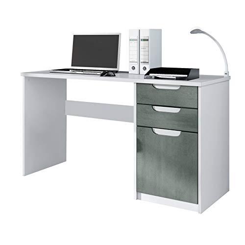 Escritorio Mesa para computadora Mueble de Oficina Logan, Cuerpo en Blanco Mate/frentes en hormigón Oscuro