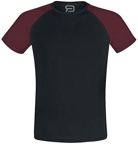 R.E.D. by EMP Short Raglan Road Hombre Camiseta Negro/Burdeos M, 100% algodón (orgánico), Regular