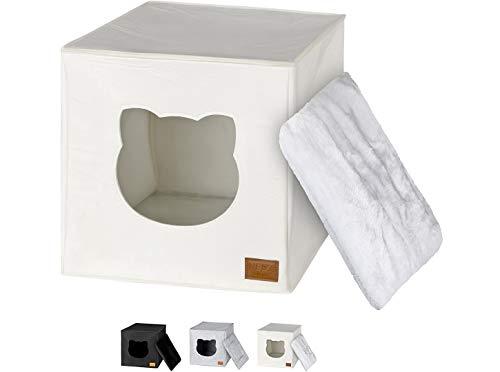 NEEZ Katzenhöhle, Katzenhäuschen inkl. weichem Kissen passend für IKEA Kallax & Expedit Regal (Weiß)