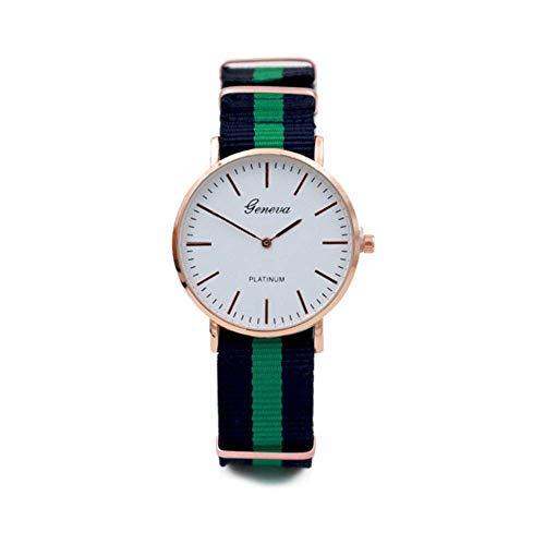 Reloj de pulsera de cuarzo analógico de banda de cuero barato con correa de nylon correa de algodón marfil con correa de silicona verde y negro cómodo y ecológico