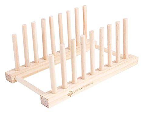 LHSUNTA Estante de secado de placas de madera, soporte multifuncional para escurridor de cocina