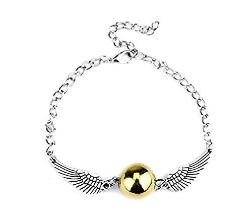 Legisdream Pulsera Snitch dorada con alas de ángel, color plateado, ideal como regalo para fiestas, cumpleaños y snito de oro Saga
