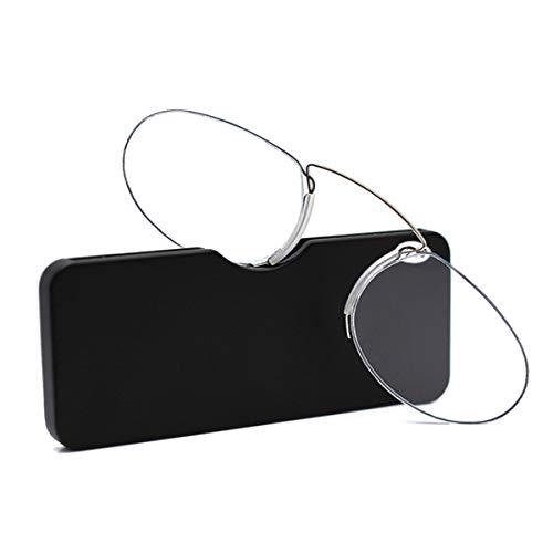 Unisex Lesegläser Kompakte Sehehilfe Mini Nose Clip Bügellose Lesebrille Rutschfest Lesehilfe- Immer griffbereit für Männer und Frauen, Stärke 1,50-2,5 (1.5)
