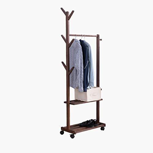 DONG QING-hanger Baumförmige Massivholz-Fußboden zu Decken Kleiderbügel Porch Schlafzimmer Haus Multifunktions-Removable Storage Rack (Color : Brown, Size : 1440×700mm)