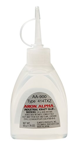 Aron Alpha Industrial Krazy Glue-AA900 Aron Alpha 414TXZ (6,000 cps) High Heat (250 F) and Impact Resistant Instant Adhesive 50 g (1.76 oz) Bottle,clear