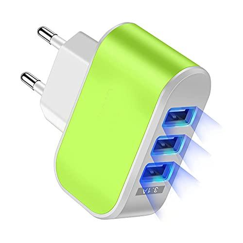 HDGDS Bargador USB De Pared con 3 Puertos, 1A/5W Rápido Cargador Móvil, Cargador USB Multipuerto Enchufe Europeo para Phone X/XS/XS MAX/XR, iPad Pro/Air, Android Y Más (Verde)