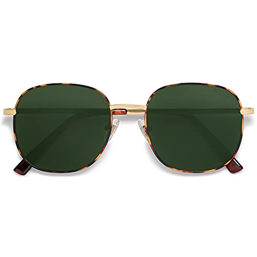 SOJOS Classic Square Sunglasses for Women Men with Spring Hinge AURORA SJ1137 with Tortoise/Green