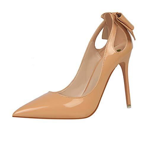 WLQWER Damen High Heels Plateauschuhe Stiletto Dress Pumps, Bürodamen Classic Pointed Toe 10 cm Partyhochzeitsschuhe,Nude,35