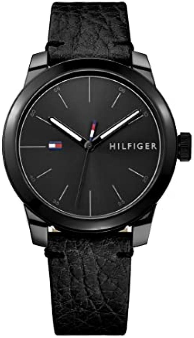 Tommy Hilfiger Men's Quartz Watch with Leather Calfskin Strap, Black