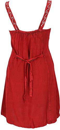 GURU SHOP Mini vestido indio bordado, estilo hippy, túnica para mujer, color rojo, diseño 6, sintético, talla: 40, ropa alternativa