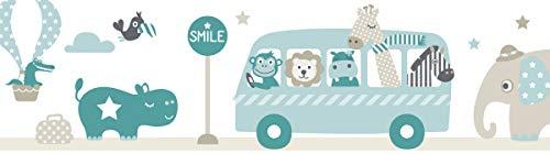 lovely label Bordüre selbstklebend Tiere ON Tour Taupe/Mint/Petrol - Wandbordüre Kinderzimmer/Babyzimmer mit Tieren - Wandtattoo Schlafzimmer Mädchen & Junge – Wanddeko Baby/Kinder