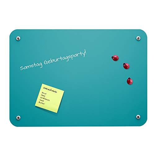 BANJADO Magnettafel A4 21x29cm | Memoboard türkis | Metall Pinnwand klein | Wandtafel beschreibbar | perfekt für Küche, Büro oder Kinderzimmer