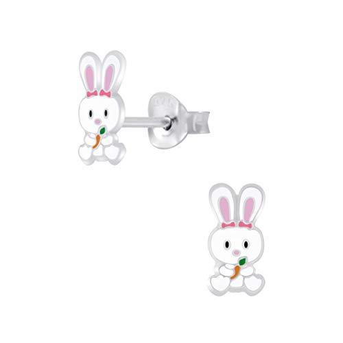 Laimons Kinder Mädchen-Ohrstecker Ohrringe Hase Kaninchen Häschen weiß rosa 8 x 4 mm Sterling Silber 925