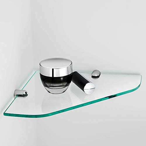 EMKE Glasregal Duschregal Glas Eckregal Duschablage Ablage 6mm Badezimmer Wandregal Edelstahl Wandmontage