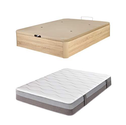 DHOME Pack Canape abatible tapizado 3D Madera + Colchón viscografeno, Reversible Conjunto (105x190 Cambrian, 22mm + Colchón)