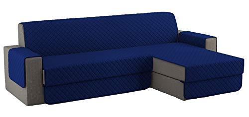 Fundas para Sofa Acolchado, Funda Sofa Chaise Longue Brazo Chaise Derecho / Izquierdo (250 CM), Cubre Sofa Reversible, Azúl