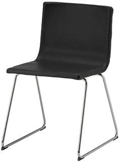 IKEA Bernhard silla, cromo/cuero, negro y marrón