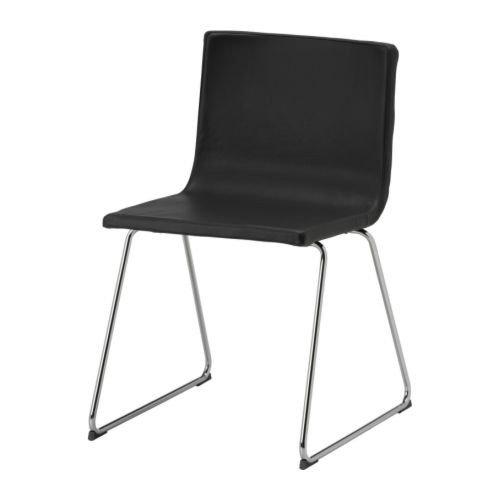 IKEA BERNHARD Stuhl, Chrom / Leder, SCHWARZBRAUN