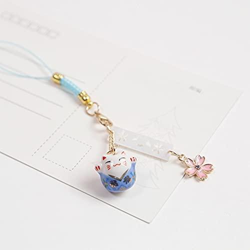TSP Llavero japonés con diseño de gato de la suerte, con diseño de dibujos animados, ideal para el teléfono, con colgante de bolsa de coche, llavero para rezar, regalo para pareja (color D: D)