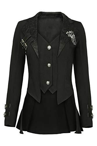 Harrypetter Frauen Victorian Steampunk Jacquard Smoking Retro Mittelalter Tailcoat Jacke Vintage Punk Corsage Mantel Schwarz Gr. Weiblich X-Large, Schwarz