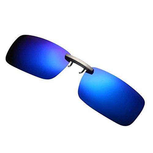 P Prettyia Gafa de Sol Polarizado con Clip Unisex Lente Rectangular Protección UV 400 para Deporte Viaje - Azul profundo, como se describe