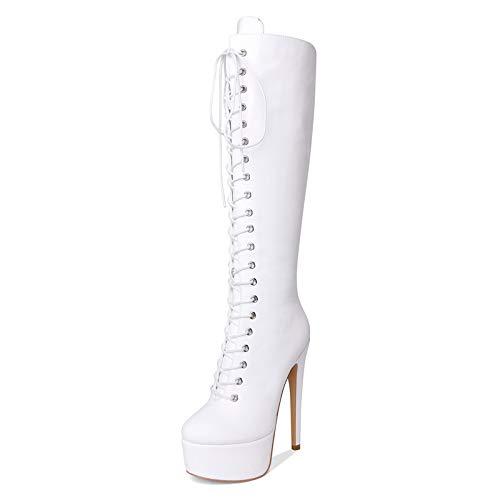 YOWAX Botas de tacón Alto para Mujer Tacón de Aguja Zapatos Blancos con Cordones Delgados y Sexy Botas de tacón Alto de noche-EU37