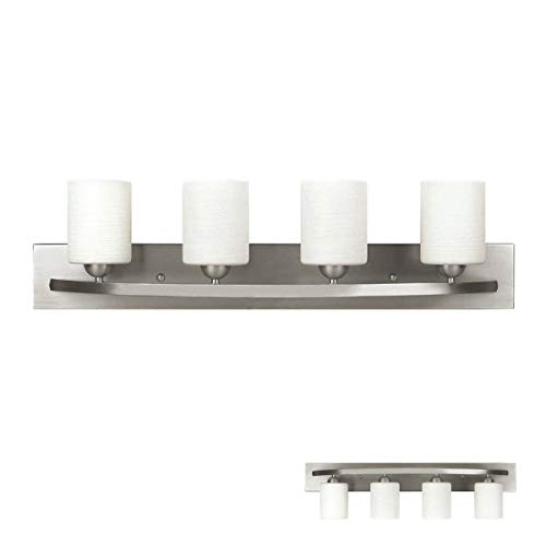 Bennington Lakeland 4-Bulb Bath Vanity Light Fixture Bar, Brushed Nickel