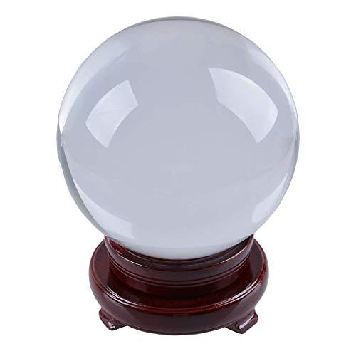 Bola de cristal 150mm, transparente + con soporte giratorio rojo de madera