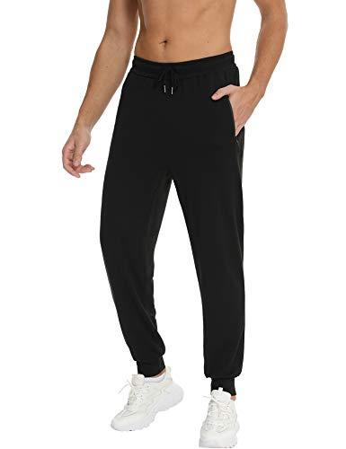 Pantalon de Sport Hommes Jogging Pantalon de Survêtement Sweatpants Casual Long Joggers Activewear avec Poches Cordon de Serrage Noir XL