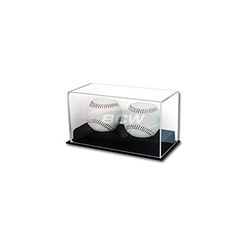 BCW Deluxe Acrylic Double (2) Baseball Holder Display - Sports Memoriablia Display Case - Sportscards Collecting Supplies
