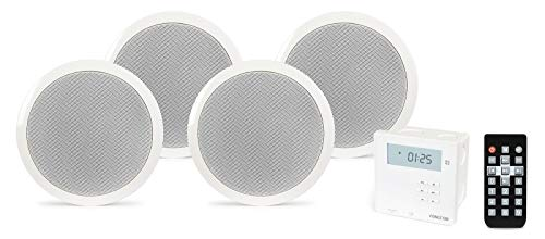 KIT AMPLIFICADOR DE PARED USB BLUETOOTH CON 4 ALTAVOCES DE TECHO 5.25""