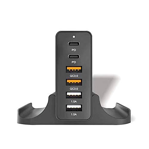 Andifany 6 Puertos PD QC3.0 Cargador RáPido de Protocolo Dual 75W Adaptador de Cargador de Escritorio Inteligente RáPido MultifuncióN USB-Enchufe de la UE