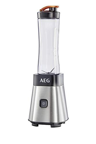AEG MiniMixer SB 2500 Standmixer (0,4 PS-Power-Motor, 23.000 U/Min, spülmaschinen- und bruchfeste 600 ml und 300 ml Tritan-Flasche, 4-Klingen Messer, Pulse-Taste, gebürstetes Edelstahl)