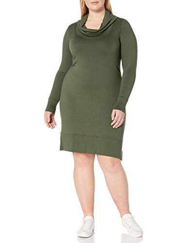 Amazon Brand - Daily Ritual Women's Plus Size Supersoft Terry Long-Sleeve Cowl Neck Dress, 6X, Olive