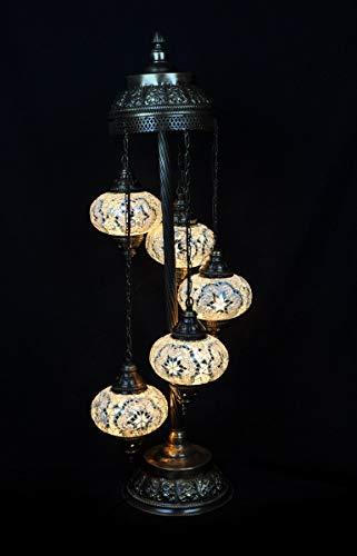 Lámpara de pie, diseño oriental, lámpara turca, 5 esferas, color blanco