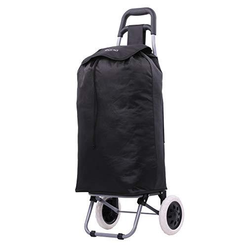 Eono Essentials Carro de la compra plegable, ligero, 47 litros, (negro), con...