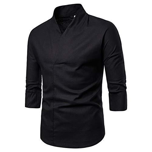 Chemise Homme en Lin à Manches Longues Hauts décontractés pour Hommes T-Shirt rétro de Couleur Unie à la Mode Manches 3/4 Chemise boutonnée Pyjama Sexy pour Dames