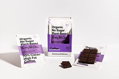 Vegan pure chocolade 70% cacao,suikervrije chocolade, koffie poeder, glutenvrij, koolhydraatarm, ketogeen snack, biologischecacao, 10 repen van 50g.