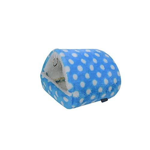 FiveFive Linda felpa suave para mascotas suministros de algodón cómodo pequeño animal casa cama jaulas accesorios cama para hámster (azul XL)