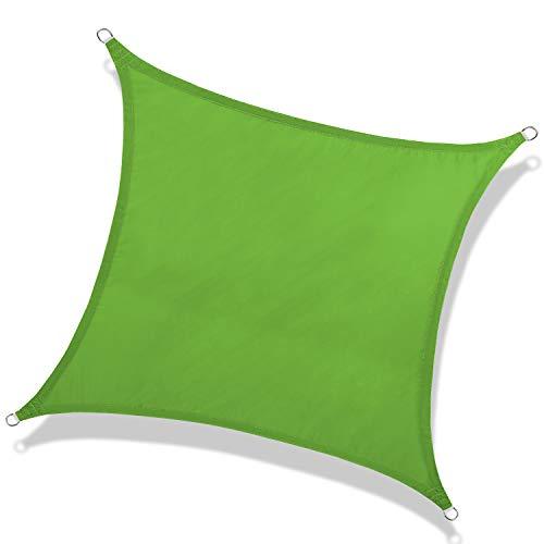 NAKAMORY Sun Shade Sail Waterproof 95% UV Block for Outdoor Garden Patio Backyard (16'×16', Green)